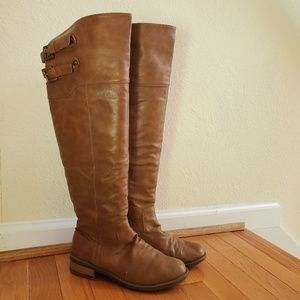Knee High Brown Faux Leather Boots